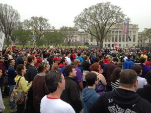 A crowd gathers at the Reason Rally in Washington DC. Photo by Flickr user makelessnoise.
