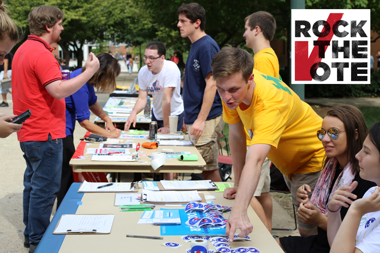 Both organizations worked together to host a Rock the Vote event in October.