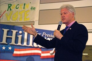 Bill Clinton speaks in the Johnson Center in 2008.