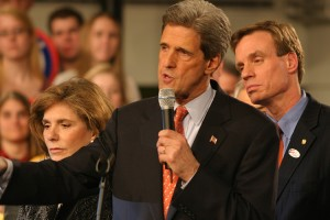 John Kerry speaks in the Johnson Center in 2004.