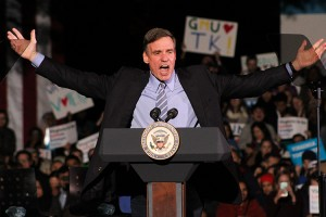 Former VA Governor and current U.S. Senator Mark Warner greets the crowd on North Plaza.